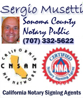 Sonoma County Mobile Notary Public Spanish Certified Signing Agent, Cotati Notary, California, USA